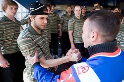 Ziga Jeglic, Rok Ticar, Jan Mursak and Dejan Zavec at meeting of Slovenian Ice-Hockey National team and boxer Dejan Zavec - Jan Zaveck alias Mister Simpatikus, on April 15, 2010, in Hotel Lev, Ljubljana, Slovenia.  (Photo by Vid Ponikvar / Sportida)