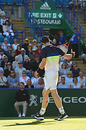 Andy Murray of Great Britain throws his racket during the Nature Valley International at Devonshire Park, Eastbourne, United Kingdom on 27 June 2018. Picture by Martin Cole.