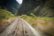 Railway leading to and from Machu Picchu through the Sacred Valley, Cusco Region, Urubamba Province, Machupicchu District in Peru, South America