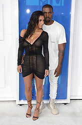 Kim Kardashian and Kanye West arriving at the MTV Video Music Awards 2016, Madison Square Garden, New York City. Photo credit should read: Doug Peters/EMPICS Entertainment