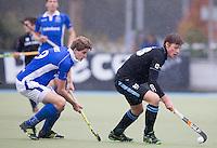 UTRECHT- Hockey -  Weigert Schut van HGC (r) met Rutger Marres van Kampong  tijdens de hoofdklasse competitiewedstrijd tussen de mannen van Kampong en HGC (2-1). COPYRIGHT KOEN SUYK