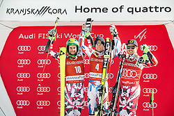 Second placed Philipp Schoerghofer (AUT), winner Alexis Pinturault (FRA) and third placed Marcel Hirscher (AUT) celebrate at trophy ceremony after the 9th Men's Giant Slalom race of FIS Alpine Ski World Cup 55th Vitranc Cup 2016, on March 4, 2016 in Kranjska Gora, Slovenia. Photo by Vid Ponikvar / Sportida