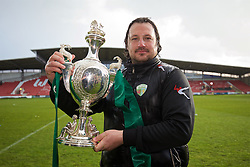 WREXHAM, WALES - Monday, May 2, 2016: The New Saints' manager Craig Harrison celebrates with the trophy after the 2-0 victory over Airbus UK Broughton during the 129th Welsh Cup Final at the Racecourse Ground. (Pic by David Rawcliffe/Propaganda)