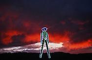 Sunset at he Burningman festival on the playa near Black Rock in NE Nevada.