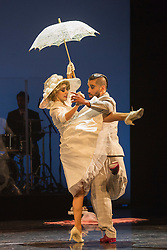 © Licensed to London News Pictures. 29/02/2016. London, UK. Mauro Caiazza and Tere Sanchez Terraf performing Milongueando en el '40. The Argentine Tango show Immortal Tango created by German Cornejo opens at the Peacock Theatre on 1 March 2016 and runs until 19 March 2016. Photo credit: Bettina Strenske/LNP