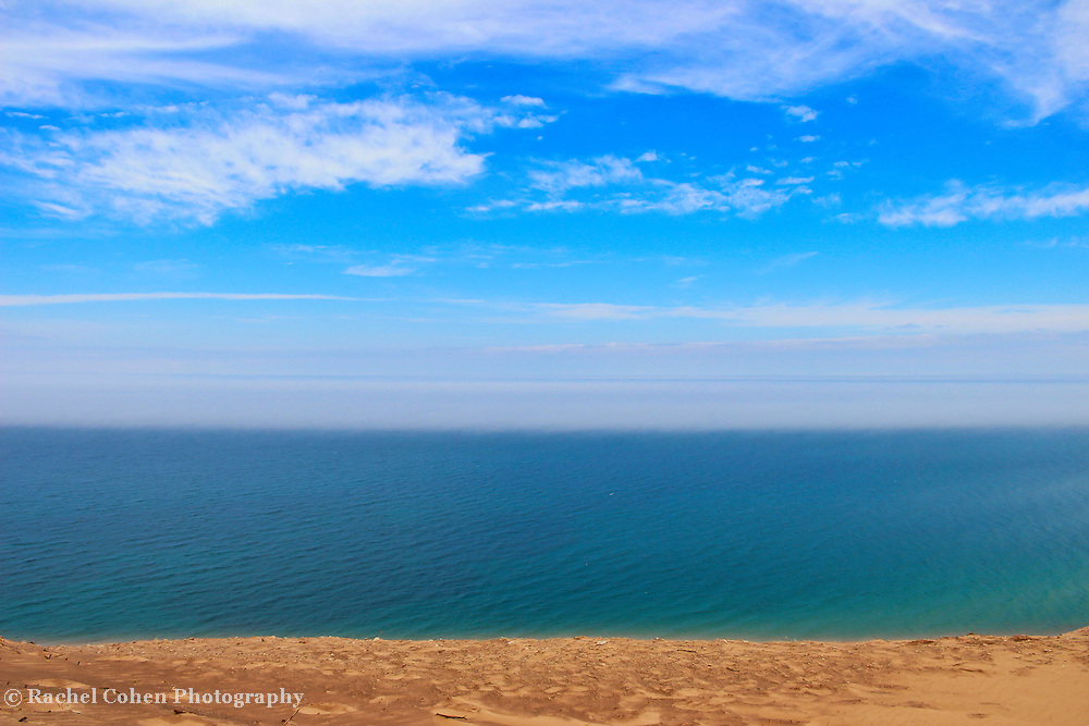 """""""Earth Wind and Water""""<br /> <br /> Pure Michigan beauty in horizontal layers!<br /> Sand, blue water, fog, blue sky and clouds!<br /> The wonders of Lake Michigan!!<br /> <br /> The Great Lakes by Rachel Cohen"""