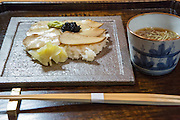 King oyster mushroom sushi and house made soba with jyunsai at Kajitsu, 125 E. 39th St., New York.