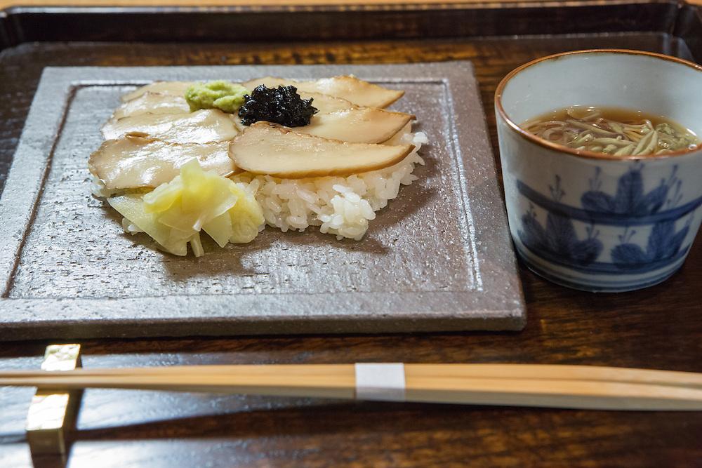 King oyster mushroom sushi and house made soba with jyunsai at Kajitsu, 125 E. 39th St., New York.