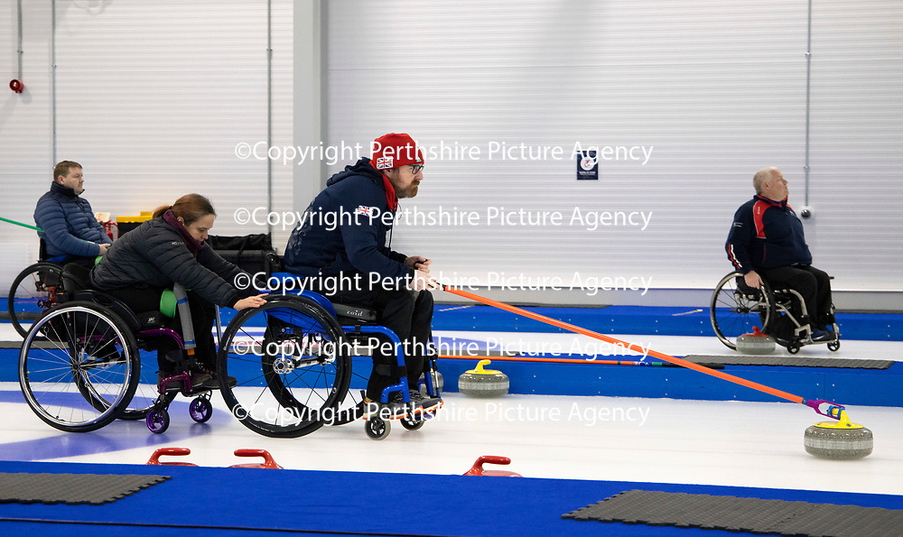 British Curling Wheelchair Curling at NCA, Stirling...<br />Hugh Nibloe and Charlotte McKenna<br />Picture by Graeme Hart.<br />Copyright Perthshire Picture Agency<br />Tel: 01738 623350  Mobile: 07990 594431