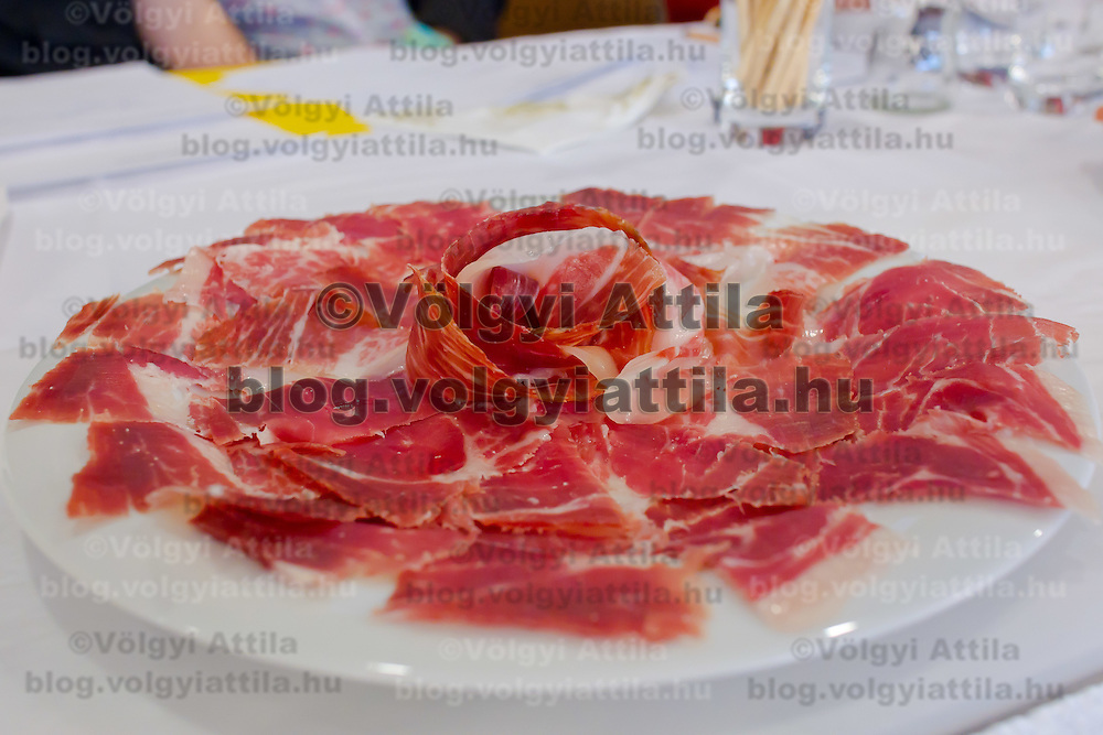 Sliced ham on display during the first ever ham slicing competition in Budapest, Hungary on May 9, 2012. ATTILA VOLGYI