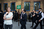 """People being moved along after London Bridge Station was evacuated due to an abandoned vehicle on 7th March 2017, in London, United Kingdom. The area was cordoned off by police leaving hundreds of people beyond thepolice cordon. The vehicle had been deemed """"suspicious"""" by the Metropolitan Police Service, and so the entire area was off limits while the emergency services and bomb squad dealt with the issue."""