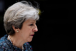 © Licensed to London News Pictures. 03/05/2017. London, UK. British prime minister THERESA MAY delivers a statement outside Downing Street in London after a meeting with The Queen to dissolve parliament ahead of an election on June 8. Photo credit: Ben Cawthra/LNP