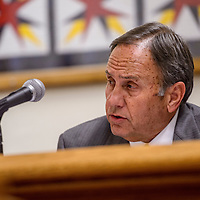 City attorney George Kozeliski speaks to the mayor and city councilors during a city council meeting at City Hall Tuesday.