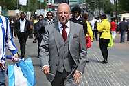 Ian Holloway walking towards Wembley Stadium before k/o. Skybet football league Championship play off final match, Hull city v Sheffield Wednesday at Wembley Stadium in London on Saturday 28th May 2016.<br /> pic by John Patrick Fletcher, Andrew Orchard sports photography.