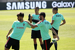 June 7, 2017 - Lisbon, Portugal - Portugal's forward Cristiano Ronaldo (C ) warms up with teammates during a training session at ''Cidade do Futebol'' (Football City) training camp in Oeiras, outskirts of Lisbon on June 7, 2017, ahead of the FIFA World Cup Russia 2018 qualifier match Latvia vs Portugal. Photo: Pedro Fiuza. (Credit Image: © Pedro Fiuza via ZUMA Wire)