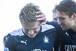 Falkirk's Peter Grant celebrates with Luke Leahy after scoring their first goal.  Falkirk 2 v 1 Alloa Athletic, Scottish Championship game played 4/10/2014 at The Falkirk Stadium.