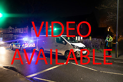 VIDEO AVAILABLE £100 per use per page. https://wetransfer.com/downloads/ef96be095bb58e2acf879e326657b8ba20190209084435/60b6379b8a562d3ffae75a509fd8800120190209084435/f738b4   © Licensed to London News Pictures. 08/02/2019. Cheam, UK. Police guard a white van outside Cheam Leisure Centre where a man was detained by armed officers. The leisure centre is 680 metres from where a woman in her 30's was stabbed to death at 3pm on Friday. Two men have been arrested. Photo credit: Peter Macdiarmid/LNP