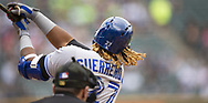 CHICAGO - MAY 19:  Vladimir Guerrero Jr.  #27 of the Toronto Blue Jays bats against the Chicago White Sox on May 19, 2019 at Guaranteed Rate Field in Chicago, Illinois.  (Photo by Ron Vesely)  Subject:  Vladimir Guerrero Jr.