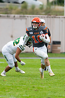 KELOWNA, BC - SEPTEMBER 22:  Darius Kelly #42 of Valley Huskers attempts to tackle Conor Richard #10 of Okanagan Sun as he runs with the ball at the Apple Bowl on September 22, 2019 in Kelowna, Canada. (Photo by Marissa Baecker/Shoot the Breeze)