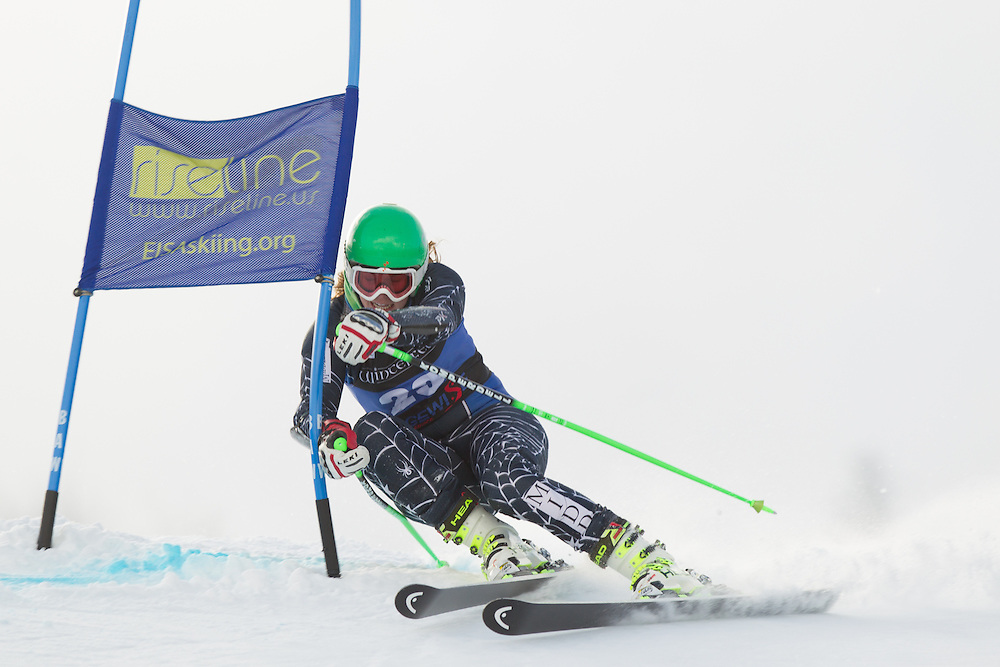 Elle Gilbert of Middlebury College, skis during the first run of the women's giant slalom at the Colby College Carnival at Sugarloaf Mountain on January 17, 2014 in Carabassett Valley, ME. (Dustin Satloff/EISA)