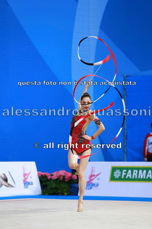 Kosoulieva Angela of Poland competes during the rhythmic gymnastics individual ribbon qualification of the World Cup at Adriatic Arena on April 2, 2016 in Pesaro, Italy.<br /> Angela was born in Gdynia in Poland in 1999.