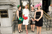 Hilda Moran, Kilmaine, Suzanne Kilduff, Ardrahan, Anne Forde Oughterard and Anne Sammon  Boston at Hotel Meyrick in Eyre Sq. Galway for their best dressed Lady Competition during Galway's Race week . Photo:Andrew Downes
