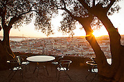 A cafe in the grounds of the Castle of Sao Jorge, overlooking the city of Lisbon, capital of Portugal