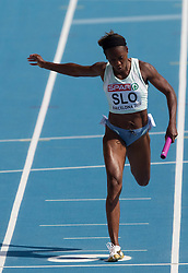 Merlene Ottey of Slovenia competes during  the 4x100m Womens Relay Heats during day five of the 20th European Athletics Championships at the Olympic Stadium on July 31, 2010 in Barcelona, Spain.  (Photo by Vid Ponikvar / Sportida)