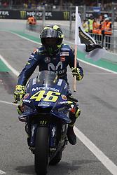 June 17, 2018 - Barcelona, Catalonia, Spain - Valentino Rossi (46) of Italy and  Movistar Yamaha MotoGP during the race day of the Gran Premi Monster Energy de Catalunya, Circuit of Catalunya, Montmelo, Spain. 17th June of 2018. (Credit Image: © Jose Breton/NurPhoto via ZUMA Press)