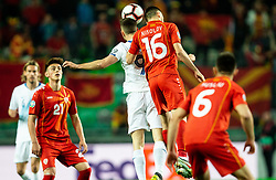 Andraž Šporar of Slovenia vs Boban Nikolov of Macedonia during football match between National teams of Slovenia and North Macedonia in Group G of UEFA Euro 2020 qualifications, on March 24, 2019 in SRC Stozice, Ljubljana, Slovenia. Photo by Vid Ponikvar / Sportida