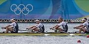 "Rio de Janeiro. BRAZIL.  GBR M4-, Bow Alex GREGORY, Mohamed SBIHI, George NASH and Constantine LOULOUDIS. 2016 Olympic Rowing Regatta. Lagoa Stadium,<br /> Copacabana,  ""Olympic Summer Games""<br /> Rodrigo de Freitas Lagoon, Lagoa. Local Time 09:46:15  Thursday  11/08/2016 <br /> [Mandatory Credit; Peter SPURRIER/Intersport Images]"