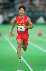 Su Bingtian of China competes in the men's 60 metres heats during day two of the IAAF World Indoor Championships at Oregon Convention Center in Portland, Oregon, the United States, on March 18, 2016. EXPA Pictures © 2016, PhotoCredit: EXPA/ Photoshot/ Yang Lei from Chongqing<br /> <br /> *****ATTENTION - for AUT, SLO, CRO, SRB, BIH, MAZ, SUI only*****
