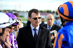 Trainer Aidan O'Brien talks to his jockey's before the Racing Post Trophy Stakes during Racing Post Trophy day at Doncaster Racecourse. PRESS ASSOCIATION Photo. Picture date: Saturday October 28, 2017. See PA story RACING Doncaster. Photo credit should read: Clint Hughes/PA Wire