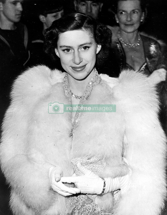 Apr. 13, 1951 - London, England, U.K. - The PRINCESS MARGARET, Countess of Snowdon was the younger daughter of George VI and Queen Elizabeth, and the late younger sister of the current monarch of each of the Commonwealth Realms, Elizabeth II. She held the title Countess of Snowdon by marriage. PICTURED: PRINCESS MARGARET in Warner Theater in London.   (Credit Image: © Keystone Press Agency/Keystone USA via ZUMAPRESS.com)