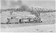 """RGS #461 northbound with caboose #0400 climbing Lizard Head Pass.<br /> RGS  Gallagher (near), CO  Taken by Richardson, Robert W. - 9/26/1951<br /> In book """"Silver San Juan: The Rio Grande Southern"""" page 222<br /> Also at RDS079-003.  Also in """"Chasing the Narrow Gauge Vol. 3"""", p. 121.<br /> Thanks to Don Bergman for additional information."""