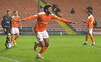 Blackpool's Ellis Simms celebrates scoring his team's 2nd goal<br /> <br /> Photographer Dave Howarth/CameraSport<br /> <br /> The EFL Sky Bet League One - Blackpool v Doncaster Rovers - Tuesday 4th May 2021 - Bloomfield Road - Blackpool<br /> <br /> World Copyright © 2021 CameraSport. All rights reserved. 43 Linden Ave. Countesthorpe. Leicester. England. LE8 5PG - Tel: +44 (0) 116 277 4147 - admin@camerasport.com - www.camerasport.com
