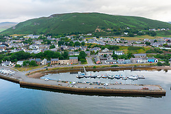 Aerial view from drone of village and harbour at Helmsdale , Sutherland, in Scotland, UK