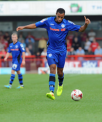 Rochdale's Rhys Bennett carries the ball - photo mandatory by-line David Purday JMP- Tel: Mobile 07966 386802 - 06/09/14 - Crawley Town v Rochdale - SPORT - FOOTBALL - Sky Bet Leauge 1 - London - Checkatrade.com Stadium