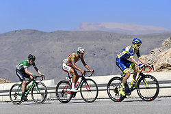 February 15, 2018 - Muscat, Oman - SCHULTZ Nick of Caja Rural - Seguros RGA, CHETOUT Loic of Cofidis, Solutions CrÈdits, MEURISSE Xandro of Wanty - Groupe Gobert during stage 3 of the 9th edition of the 2018 Tour of Oman cycling race, a stage of 179.5 kms between German University of Technology and Wadi Dayqah Dam on February 15, 2018 in Muscat, Sultanate Of Oman, 15/02/2018 (Credit Image: © Panoramic via ZUMA Press)