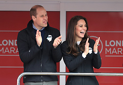 The Duke of Cambridge (left) and the Duchess of Cambridge at the start line of the Virgin Money London Marathon, London. PRESS ASSOCIATION. Picture date: Sunday April 23, 2017. See PA story ATHLETICS Marathon. Photo credit should read: Adam Davy/PA Wire