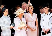 """Koning Willem Alexander wordt door Hare Majesteit Koningin Elizabeth II geïnstalleerd in de 'Most Noble Order of the Garter'. Tijdens een jaarlijkse ceremonie in St. Georgekapel, Windsor Castle, wordt hij geïnstalleerd als 'Supernumerary Knight of the Garter'.<br /> <br /> King Willem Alexander is installed by Her Majesty Queen Elizabeth II in the """"Most Noble Order of the Garter"""". During an annual ceremony in St. George's Chapel, Windsor Castle, he is installed as """"Supernumerary Knight of the Garter"""".<br /> <br /> Op de foto / On the photo:  Koningin Maxima en Catherine, hertogin van Cambridge met Koningin Letizia en Camilla Parker Bowles   / Queen Maxima  and Catherine, Duchess of Cambridge with Queen Letizia and Camilla Parker Bowles"""