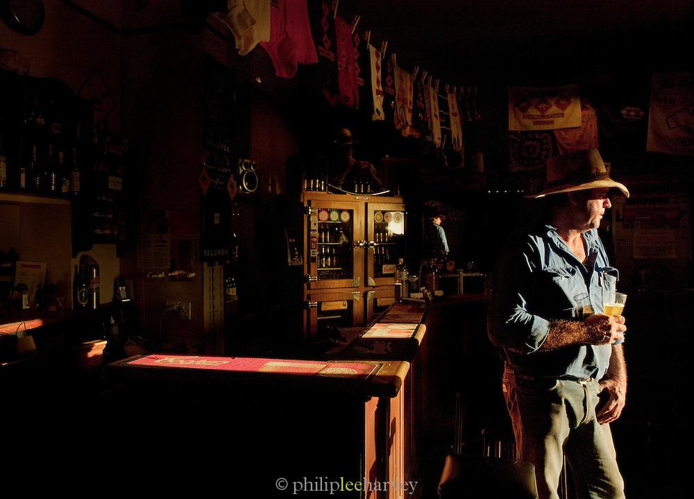 Rancher at sunset, Prairie Hotel near Wilpena Pound, Flinders Ranges, South Australia, Australia