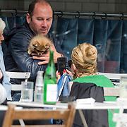 NLD/Amsterdam/20140430 - Conny breukhoven en partner Eugene van Dun op een terras in Amsterdam