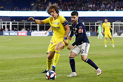 May 15, 2019 - Foxborough, MA, U.S. - FOXBOROUGH, MA - MAY 15: Chelsea FC defender David Luiz (30) cats off New England Revolution forward Carles Gil (22) during the Final Whistle on Hate match between the New England Revolution and Chelsea Football Club on May 15, 2019, at Gillette Stadium in Foxborough, Massachusetts. (Photo by Fred Kfoury III/Icon Sportswire) (Credit Image: © Fred Kfoury Iii/Icon SMI via ZUMA Press)