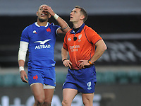 Rugby Union - 2021 Guinness Six Nations - Round Four - England vs France - Twickenham<br /> <br /> Referee, Andrew Brace watches the video replay of Maro Itoje's winning try<br /> <br /> <br /> Credit : COLORSPORT/ANDREW COWIE