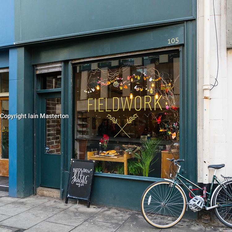 Exterior of small cafe Fieldwork in Edinburgh West End , Scotland, United Kingdom