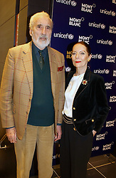"""Actor CHRISTOPHER LEE and his wife at a party to celebrate the opening of the new Mont Blanc store at 151 Sloane Street, London on 9th March 2005.  The evening was held in conjunction with UNICEF's """"Sign up for the right to write"""" campaign which is raising money though the sale of celebraties 'statements' currently for auction on the ebay website.<br /><br />NON EXCLUSIVE - WORLD RIGHTS"""