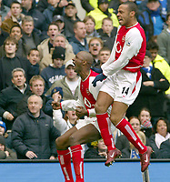 Patrick Vieira (Arsenal) celebrates his goal (Arsenal's 1st)<br />  with Thierry Henry<br /> Chelsea v Arsenal 21/02/04. Credit : Colorsport.