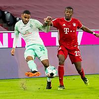 21.11.2020, Allianz Arena, Muenchen, GER,  FC Bayern Muenchen SV Werder Bremen <br /> <br /> <br />  im Bild Jean-Manuel Mbom (SV Werder Bremen #34) im kampf mit David Alaba (FCB #27) <br /> <br /> <br /> <br /> Foto © nordphoto / Straubmeier / Pool/ <br /> <br /> DFL regulations prohibit any use of photographs as image sequences and / or quasi-video.