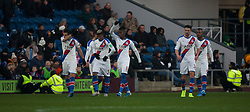 Wilfried Zaha of Crystal Palace (C) celebrates after scoring his sides first goal - Mandatory by-line: Jack Phillips/JMP - 30/11/2019 - FOOTBALL - Turf Moor - Burnley, England - Burnley v Crystal Palace - English Premier League